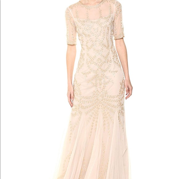 New with Tag Adrianna Papell Sequin Floral Lace Dress with Embroidered Sheath
